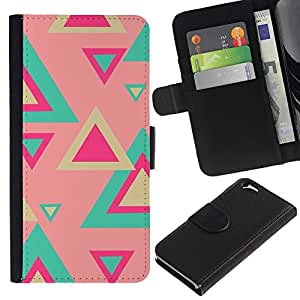 Billetera de Cuero Caso Titular de la tarjeta Carcasa Funda para Apple Iphone 6 4.7 / Teal Pink Pastel Pattern Fuchsia / STRONG