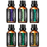 URbeauty Essential Oils, Updated 6 Aromatherapy Essential Oil Diffuser Essential Oils 100% Pure Lavender, Peppermint, Sweet Orange, Eucalyptus, Tea Tree, Lemongrass Essential Oil Gift Set 10ml/Each