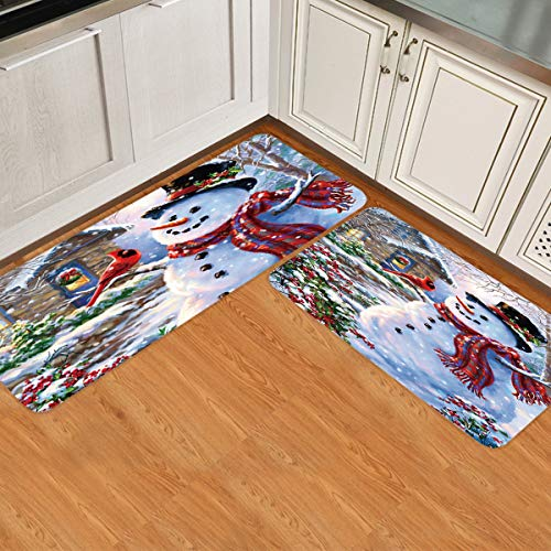 - 2 Piece Non-Slip Kitchen Mat Runner Rug Set Doormat Happy Snowman and Cardinals Winter Holiday Merry Christmas Door Mats Rubber Backing Carpet Indoor Floor Mat (19.7