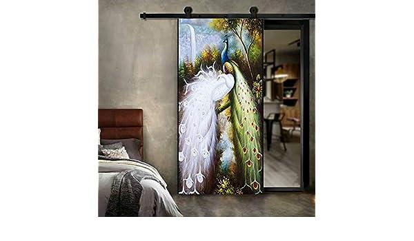 IGZAKER Etiqueta de Arte 3D Pavo Real Blanco Puerta Palo de Madera Puerta de restauración Impermeable Papel Autoadhesivo Dormitorio Oficina decoración del hogar Puerta Mural Etiqueta de la Pared: Amazon.es: Hogar