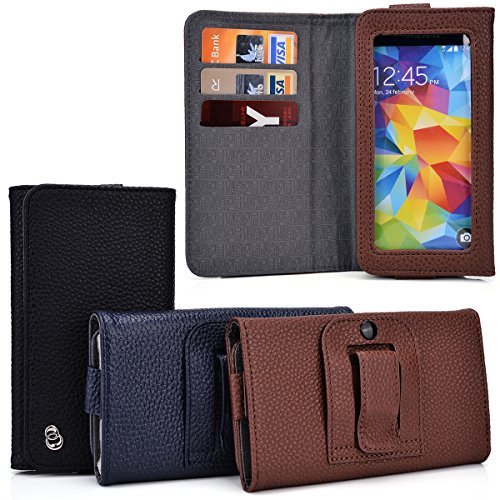 Kroo Gingerbread Men's BiFold Belt Clip Wallet Universal fit for BLU Life Blu Studio 5.0, Play Mini, Pure Mini, Neo 4.5, Quattro 4.5, Blu Sport 4.5, Vivo 4.3, Win JR | Case