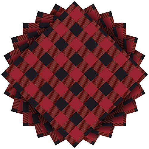 Plaid Paper Napkins (Aneco 80 Pack Red and Black Plaid Papers Napkins Luncheon Napkins for Wedding, Party, Birthday, Dinner, Lunch with 3 Layers, 6.5 by 6.5)