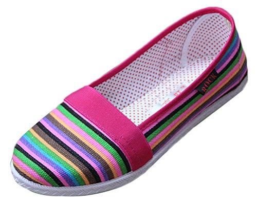 Mocassini Donna Maybest Morbide Strisce Arcobaleno Slip On Flats Scarpe Di Tela Stile Estivo Rosa 2