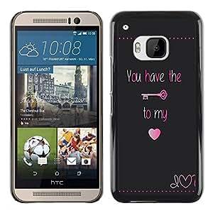 Paccase / SLIM PC / Aliminium Casa Carcasa Funda Case Cover - Have Key My Heart Lock Text Valentines - HTC One M9