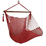 ZENY Hanging Caribbean Swing Polyester Hammock Chair 48'' Hanging Rope Chair Porch Swing Outdoor Camp Seat, Red (Red)