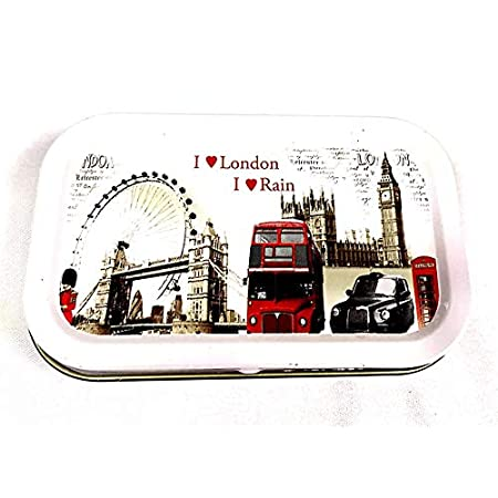"1oz Hinged Lid Tobacco Tin/Pocket Tin/Stash Can/Storage Case in ""I Love London"" Design in White color – 1 Tin by Trendz 51uy DAMF7L"