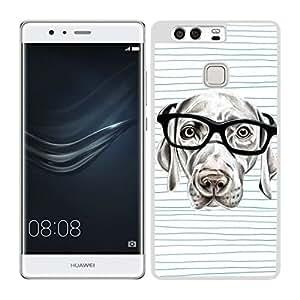Funda carcasa para Huawei P9 perro con gafas borde blanco