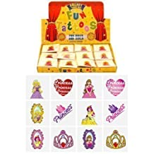 12 packs of 12 Children Kids Girls Princess Temporary Tattoos Party Bag Loot Pinnata Fillers 144 in Total by The Home Fusion Company