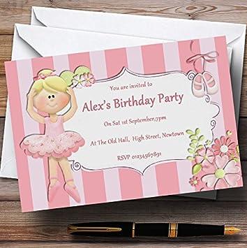 Rosa bailarina ballet personalizado invitaciones para fiesta ...