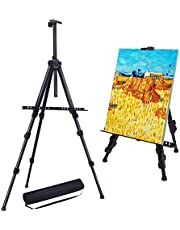 """Stathm 72"""" Reinforced Artist Easel Stand - Extra Thick Aluminum Metal Tripod Display Easel 25"""" to 72"""" Adjustable Height with Portable Bag for Floor/Table-Top Drawing and Displaying"""