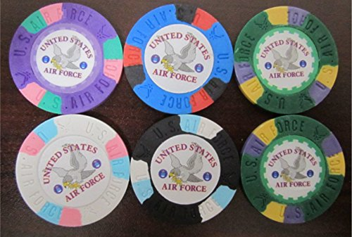 America Golf Balls (6 US AIR FORCE Poker Casino Chip Lot + FREE U.S.A. Flag & Logo Decal United States of America American Golf Ball Markers)