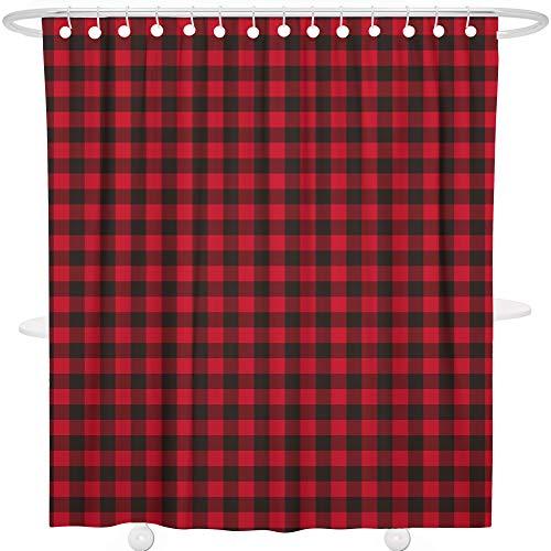 Bonsai Tree Rustic Red Black Buffalo Check Plaid Bathroom Shower Curtain Sets, Tartan Check Farmhouse Bathroom Curtain, Extra Long Shower Curtain Liner with Hooks, 72x72 Inches (Shower Red Curtain Plaid)