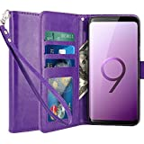 LK Galaxy S9 Plus Case, [Wrist Strap] Luxury PU Leather Wallet Flip Protective Case Cover with Card Slots and Stand for Samsung Galaxy S9 Plus (Purple)
