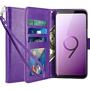 LK Case for Galaxy S9,[Wrist Strap] Luxury PU Leather Wallet Flip Protective Case Cover with Card Slots and Stand for Samsung Galaxy S9 (Purple)
