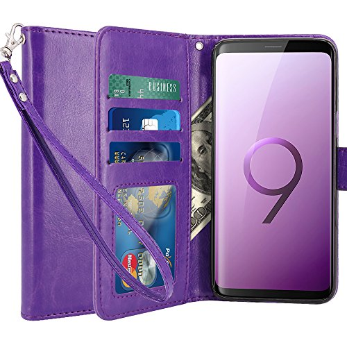 LK Galaxy S9 Case,[Wrist Strap] Luxury PU Leather Wallet Flip Protective Case Cover with Card Slots and Stand for Samsung Galaxy S9 (Purple) by LK