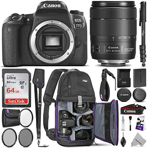 Canon EOS 77D DSLR Camera with 18-135mm is USM Lens w/Advanced Photo & Travel Bundle - Includes: Canon USA Warranty, Altura Photo Backpack, SanDisk 64gb SD Card, Monopod, Filter Kit, Neck Strap