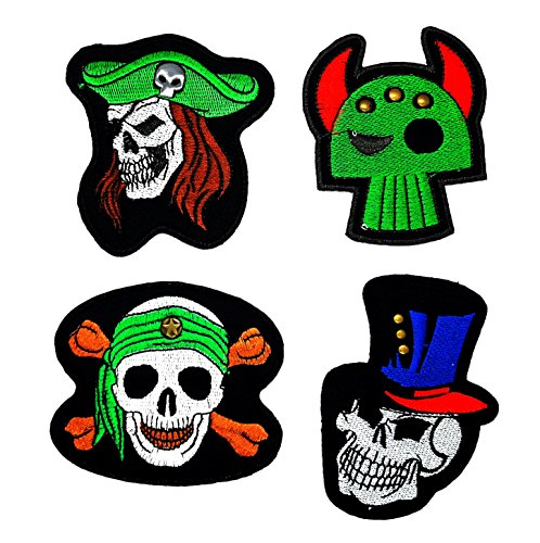 PP patch Set 4 Skull Knight Mask, Skull magician, Skull with Green Top Hat Cowboy, Pirate Skull And Cross Bones Patch for Bags Jacket T-shirt Embroidered Sign Badge Costume DIY Applique Iron on Patch