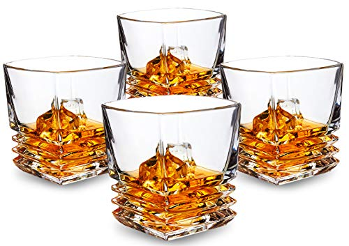 KANARS Pacific Whiskey Glasses set of 4. Premium Lead Free Crystal Rocks Tumblers for Bourbon Tasting or Scotch Drinking. Dishwasher ()