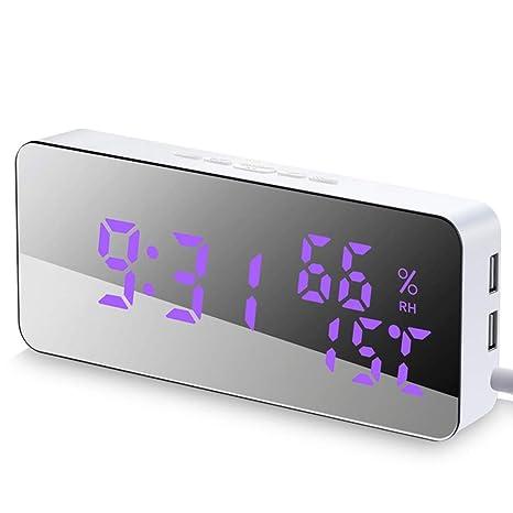 LQley Reloj De Alarma Digital Electrónico, LED Espejo Reloj ...