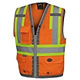 Pioneer High Visibility Surveyor Safety Vest, Mesh Back - Front Zipper, Orange, L, V1010250-L