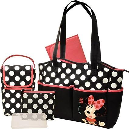 Minnie Mouse Baby Pañales 5 piezas con base, 2 bolsillos pequeños & para toallitas húmedas