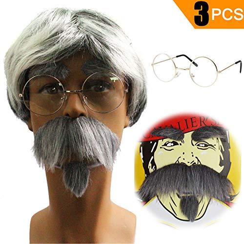 (Old Man Costume Kit - Grumpy Rude Grandpa Wig,Grandpa Glasses,Fake Eyebrows &)