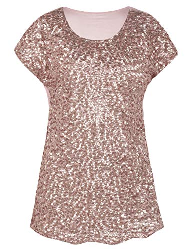 kayamiya Women's Sequin Shirts Sparkly Sequin Embellished Blouse Tunice Top Rose Gold M/US10-12