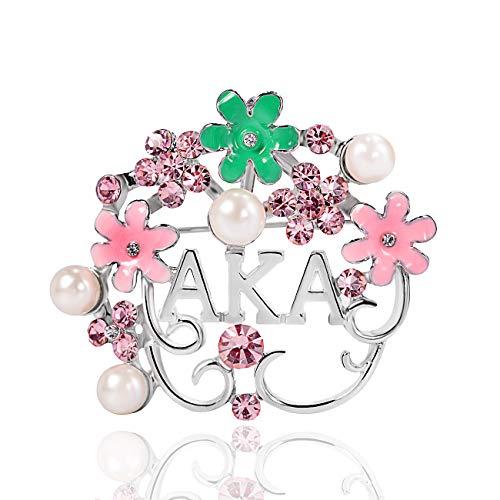 Lanqueen Alpha Kappa Alpha Paraphernalia Pearl Flower Leaf Brooch for Women AKA Sorority Gifts...
