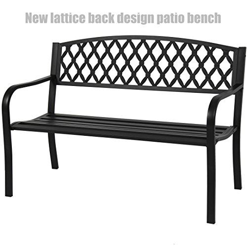 Garden Patio Steel Bench Outdoor Yard Furniture Deck Park Porch Antique Black – New lattice Back Design Chairs #1249 Review
