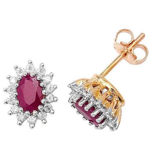 Diamant Grappe 6x 4ovale boucles d'oreilles clous RB 9ct hpk228D 0.31ct