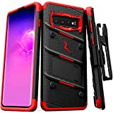 ZIZO Bolt Series Galaxy S10 Case | Military-Grade Drop Protection w/Kickstand Bundle Includes Belt Clip Holster + Lanyard Designed for 6.1 Samsung S 10 Black Red
