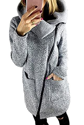 Oberora Womens Casual Lapel Zipper Jacket Trench Coat Outerwear with Pockets Light Gray XL - Zipper Trench