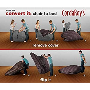 CordaRoy's Chenille Bean Bag Chair, Charcoal, Full