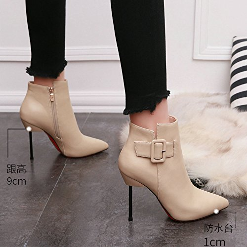 Heels Woman Sexy New Boots Ladies Buckle Boots Belt AJUNR Beige Fashion And Shoes Bare Leather Fine Super Nightclub Pointed Boots High Cashmere wBSXw6Yx