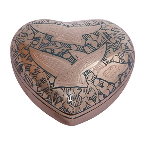 Going Home Doves Teal Small Heart Keepsake Urn Ashes, Unique Funeral (Dove Urn)