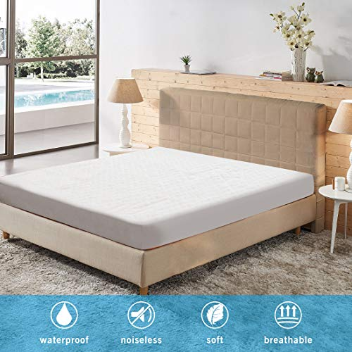 PSHFUN Queen 100% Waterproof Mattress Protector Bamboo Mattress Pad Cover Breathable Hypoallergenic 3D Air Fabric Fitted 8