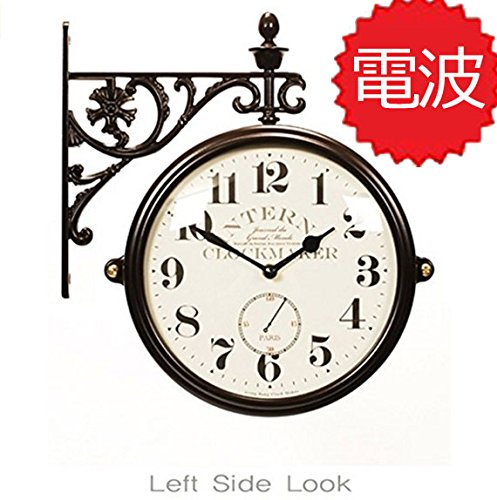 両面電波時計 両面時計 Interior Double Face Wall Clock おしゃれな インテリア 両面壁掛け時計 電波両面時計 M195 Br-AN(A) B072KWN7FF