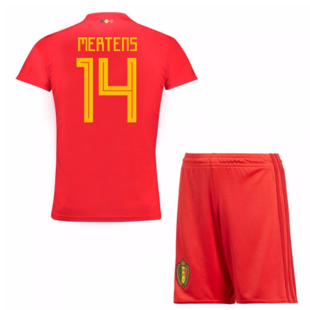63b7ca14c Amazon.com   UKSoccershop 2018-19 Belgium Home Mini Kit (Mertens 14)    Sports   Outdoors