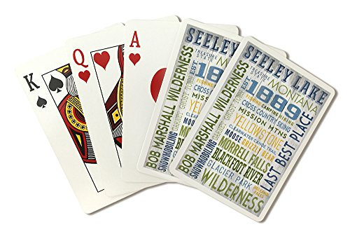 Seeley Lake, Montana - Typography (Playing Card Deck - 52 Card Poker Size with Jokers) by Lantern Press