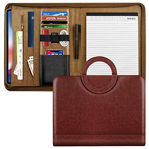MoKo Leather Padfolio Portfolio Folder with Handle, Professional Business Portfolio Organizer with 11 Inch Tablet Sleeve for iPhone, iPad, Tablets, Notebooks and Documents - Wine - Traditional Writing Padfolio
