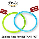 Silicone Sealing Ring - Seal Lasting & BPA-free - Fits IP-DUO60, IP-LUX60, IP-DUO50, IP-LUX50, Smart-60, IP-CSG60 and IP-CSG50 - Pack of 2 Blue & Green - By Super Kitchen
