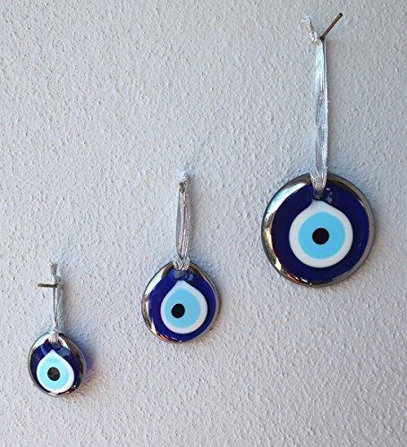 Plating Platinum (Platinum Plating Handmade Evil Eye Turkish Greek Glass Charm Decorative Ornament for Good Luck, Success and Protection (1.5