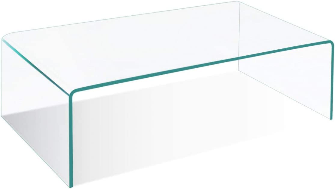 Tangkula Tempered Glass Coffee, Clear Coffee Table, Waterfall Rectangle Coffee Table for Living Room, Cocktail Tea Table with Rounded Edges