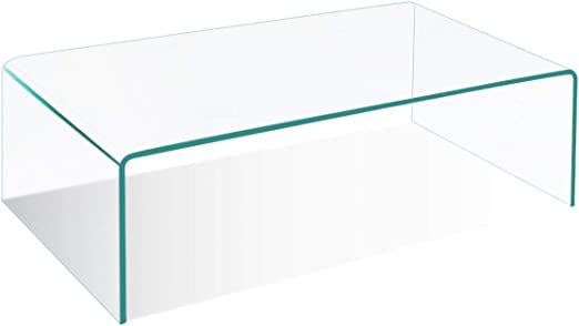 Amazon Com Tangkula Tempered Glass Coffee Clear Coffee Table