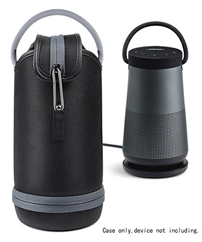Protetive Case for Bose SoundLink Revolve+ Bluetooth Speaker by WGear,with Customized Compartment Also for Charging Cradle and Adapter, mesh Pocket for Cable and Other Accessories (Polyster Black)
