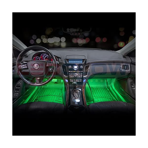 LEDGlow 4pc Multi Color LED Car Interior Underdash Lighting Kit Universal Fitment Music Mode Auto Illumination Bypass Mode