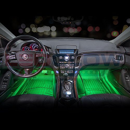 ledglow 4pc multi color led car interior underdash. Black Bedroom Furniture Sets. Home Design Ideas