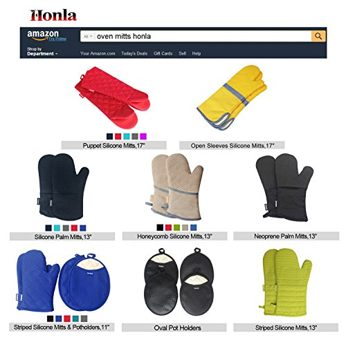 Large Product Image of Honla Pot Holders and Oven Mitts/Gloves With Silicone Printed - 2 Hot Pads and 2 Potholders Set,4-Piece Heat Resistant Kitchen Linens Set for Cooking,Baking,Grilling,Barbecue,Black