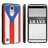 lg 3 bumper - [POPCulture] Gummy Gel TPU For LG [Phoenix 3] [Fortune] [Aristo] [LV3] [LG K8 2017] [Black] Total Shock Absorption Bumper Slim-Fit Flexible TPU [Screen Protector]- [Puerto Rican Flag] Print Design