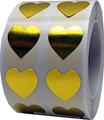Metallic Gold Heart Stickers For Valentine's Day Crafting Scrapbooking 1/2 Inch 1,000 Adhesive Stickers